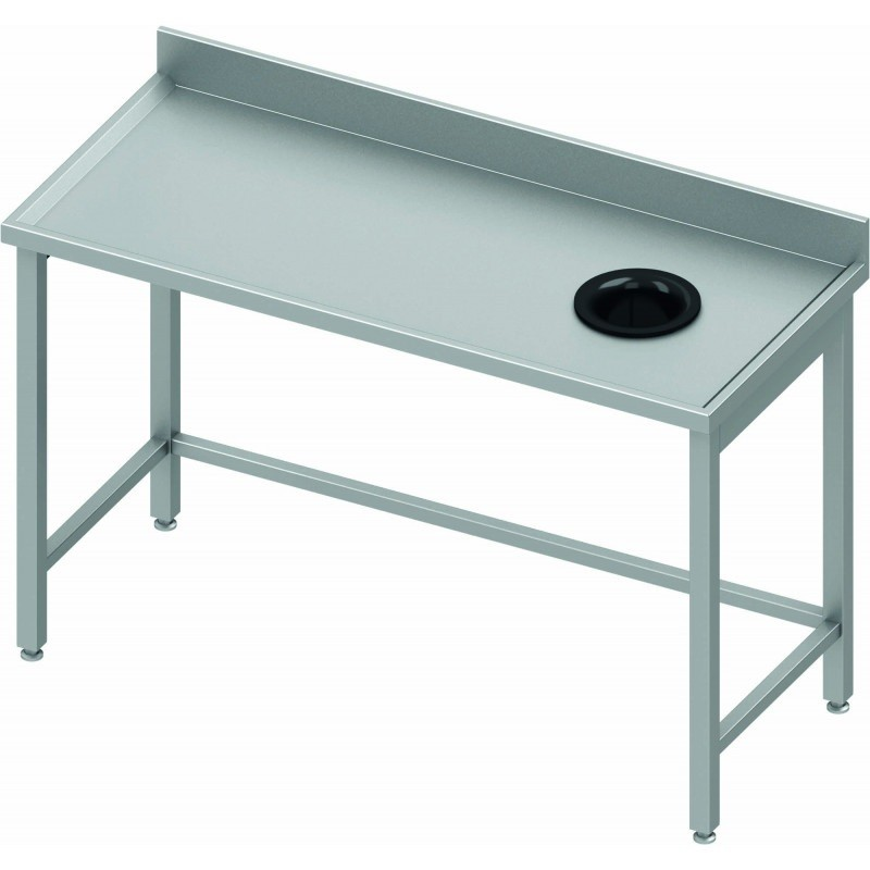 Table adossée avec trou vide-ordures côté droit 1000 x 600 mm
