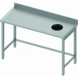 Table adossée avec trou vide-ordures côté droit 1300 x 600 mm