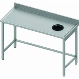 Table adossée avec trou vide-ordures côté droit 1600 x 600 mm