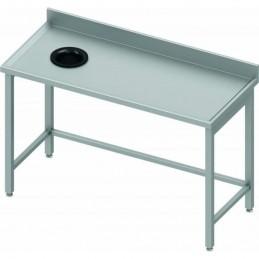 Table adossée avec trou vide-ordures côté gauche 1500 x 600 mm