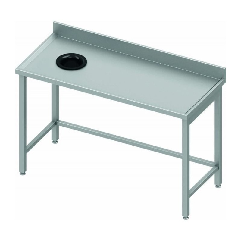 Table adossée avec trou vide-ordures côté gauche 1600 x 600 mm