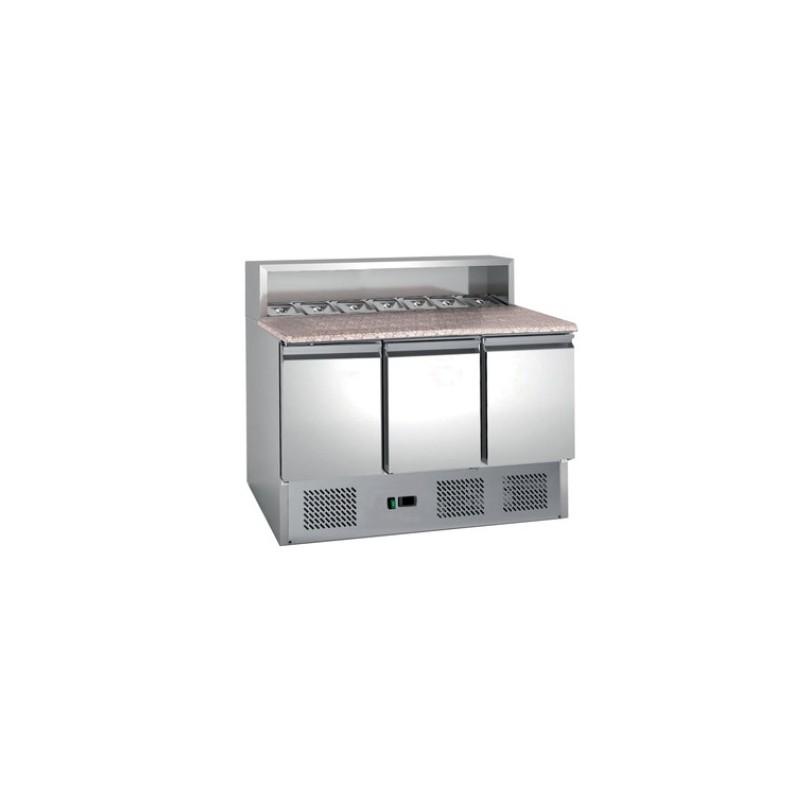 Table à pizza 2 portes dessus granit avec insert pour bacs gastrormes