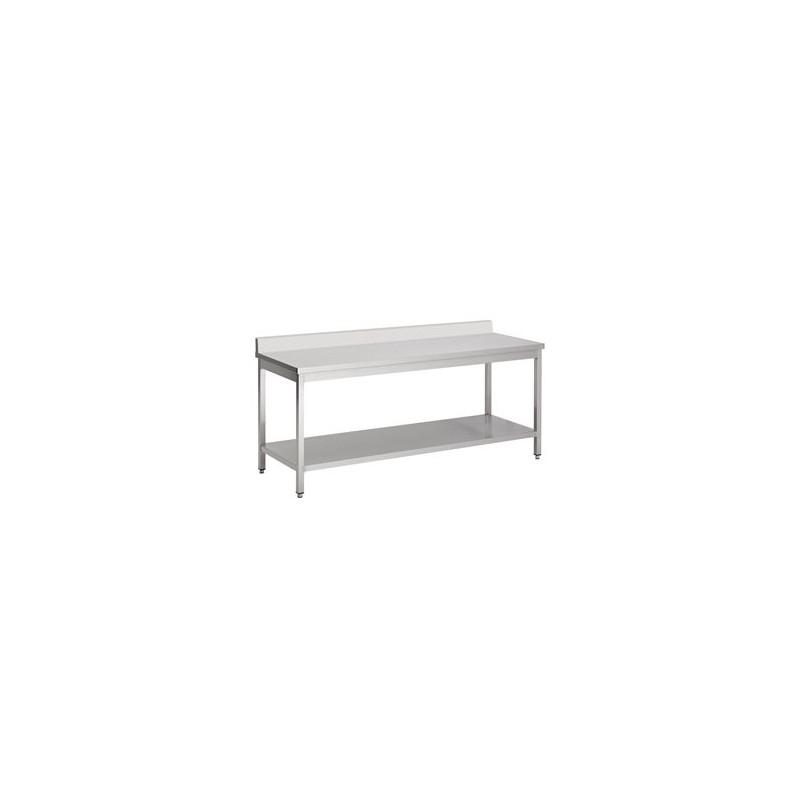 table inox adossée 2000 x 700 avec étagère inférieure