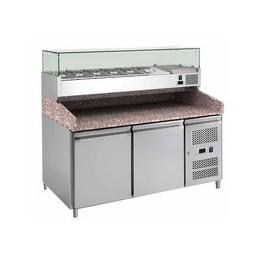 Table à pizza 2 portes dessus en granit avec vitrine à ingrédients