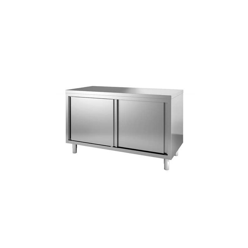 Placard inox 2 portes coulissantes central 2000 x 600 mm