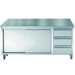 placard inox sans dosseret avec portes coulissantes et 3 tiroirs longueur 1800 mm