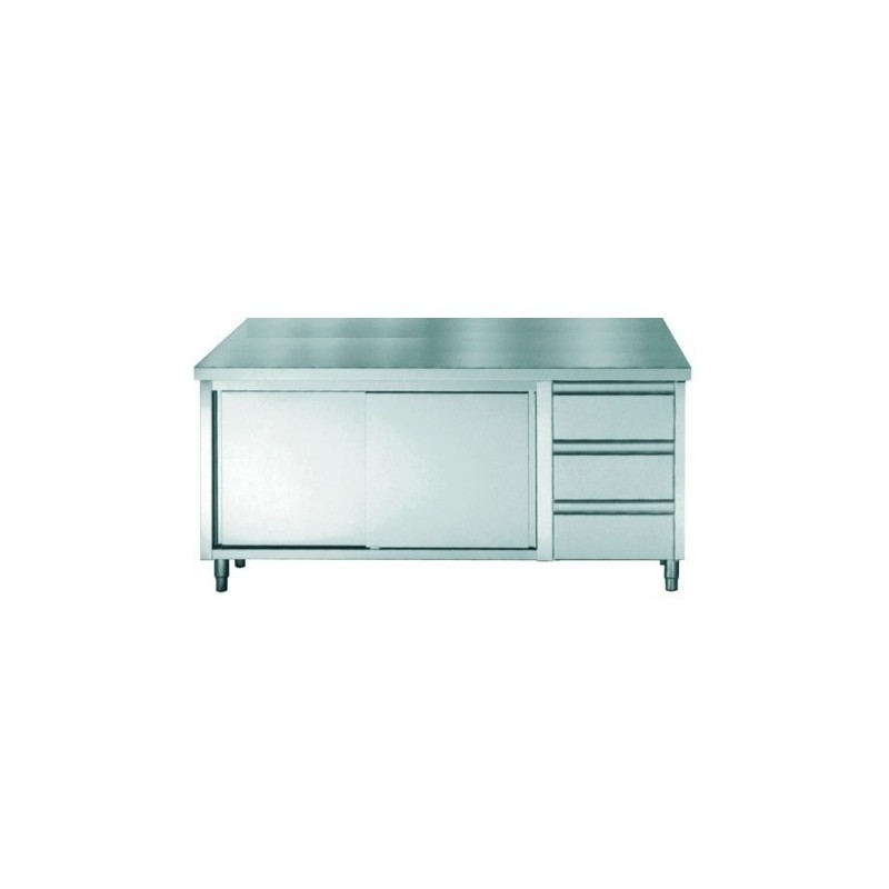 placard inox sans dosseret avec portes coulissantes et 3 tiroirs longueur 2000 mm