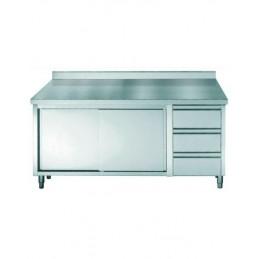 placard inox avec dosseret avec portes coulissantes et 3 tiroirs longueur 1600 mm