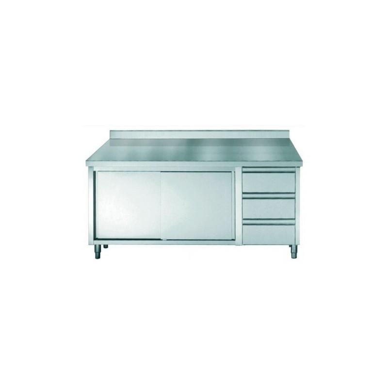 placard inox avec dosseret avec portes coulissantes et 3 tiroirs longueur 2000 mm