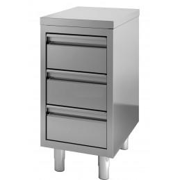 Table de travail avec 3 tiroirs largeur 400 mm sans dosseret