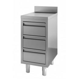Table de travail avec 3 tiroirs largeur 400 mm avec dosseret