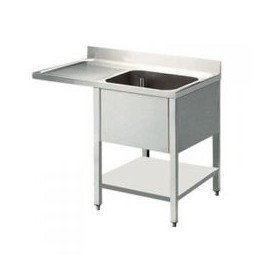 plonge 1 bac avec égouttoir gauche avec passage lave vaisselle 1400 x 700
