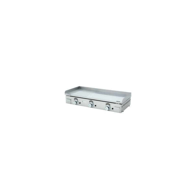 plancha électrique plaque semi rainurée chrome largeur 100 mm