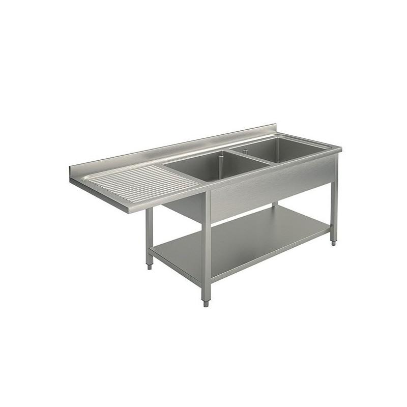 plonge 2 bacs 1 égouttoir avec passage lave vaisselle 1600 x 700