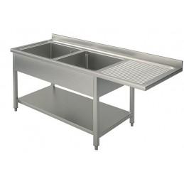 plonge 2 bacs 1 égouttoir droite avec passage lave vaisselle 1600 x 600