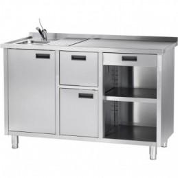 Table pour machine à expresso avec évier