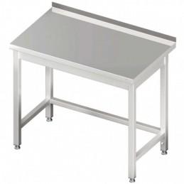 table inox adossée sans étagère 1300 x 700 mm